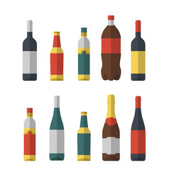 set of different bottles flat isolated wine beer vector image vector image