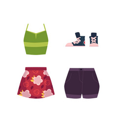 summer outfit - vest skirt shorts and sneakers vector image vector image