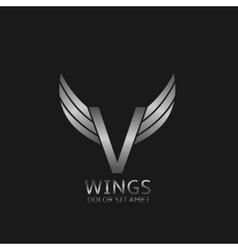 Wings V letter vector image