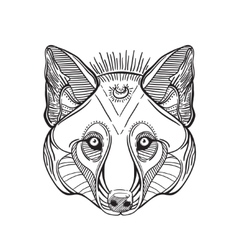 Animal head print for adult anti stress coloring vector