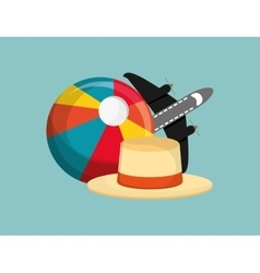 Beach ball vacation travel icons image vector
