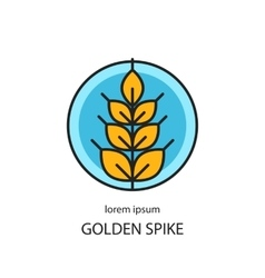 Line style logo with wheat golden spike vector image