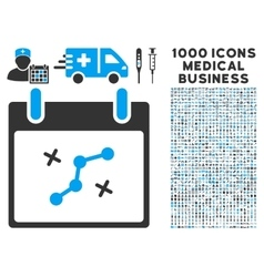 Path points calendar day icon with 1000 medical vector