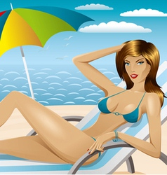 Sexy woman in bikini on the beach 3 vector