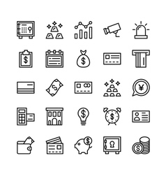 Banking and Finance Outline Icons 2 vector image
