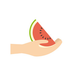 Hand holding watermelon fruit vector