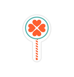 Paper sticker on white background candy heart vector