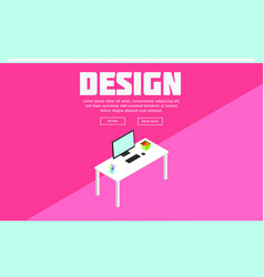 Colorful isometric designer workspace template vector