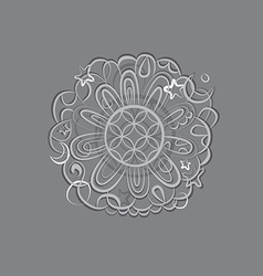 Fantasy mandala silver ornament vector