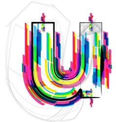 Colorful Font - Letter u vector image