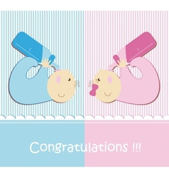 Twin Baby Boy And Girl vector image