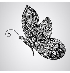 black butterfly tattoo syle vector image