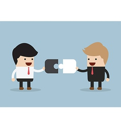 Two businessman connect puzzle pieces vector