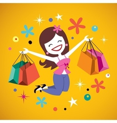 Happy girl shopping vector