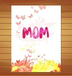 Mothers day card watercolor floral background vector
