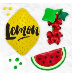 Plasticine fruits lemon vector