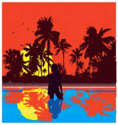 Tropical nights vector