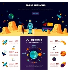 Outer space missions flat banners composition vector