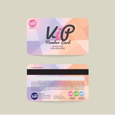 Front and back vip member card template vector