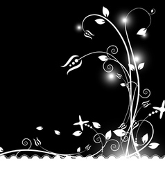 black and white floral background vector image