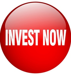 Invest now red round gel isolated push button vector
