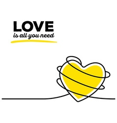 Yellow color heart with black wire and te vector