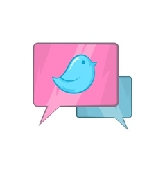 Bird on a speech bubble icon cartoon style vector