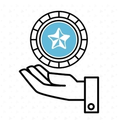 Hand and star blue isolated icon design vector