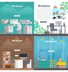 Banner set office workplace interior design vector