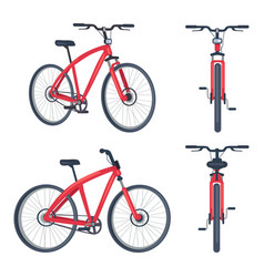 Bike with pedals and rudder front view bicycle vector