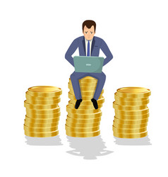 businessman sitting on gold coins concept of vector image vector image
