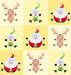 Christmas cartoon characters in yellow squares vector