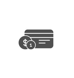 Credit card simple icon payment card with coins vector