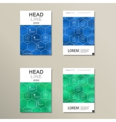 Geometric hexagon pattern design set vector