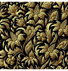 gold seamless pattern floral texture vector image