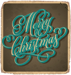 hand lettered vintage Christmas card vector image