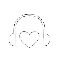 headphones with heart black dotted icon vector image