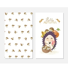 Hello autumn stylish inspiration card in cute vector