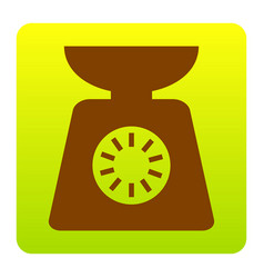 Kitchen scales sign brown icon at green vector