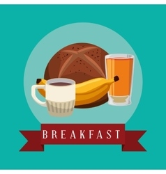 Poster breakfast banana juice coffee bread bake vector