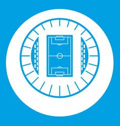 Round stadium top view icon white vector