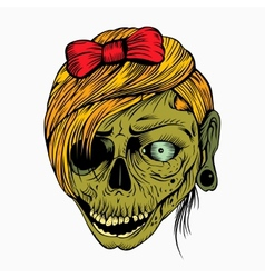 Scary zombie girl vector