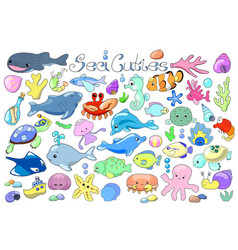Sea animals and fishes doodle marine animals vector