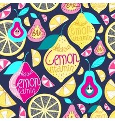 Seamless pattern lemons pears vector image
