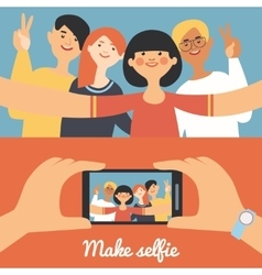 Selfie photo of friends banners vector