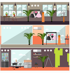 Set of art studio interior posters in flat vector