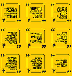 Set of motivational quotes about darkness light vector