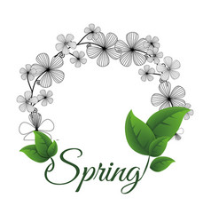 Spring flower wreath leaves vector