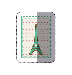 Sticker frame with silhouette of eiffel tower with vector