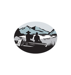 Two trampers sitting on log lake mountain oval vector